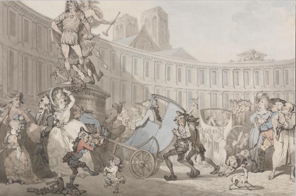 Thomas Rowlandson, Place des Victoires, 1783 (YCBA)