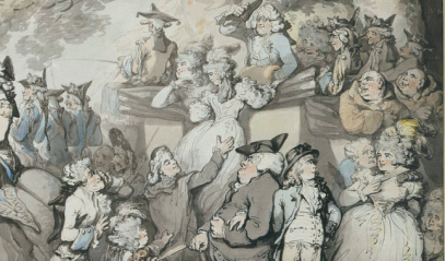 Rowlandson, French Review, 1786, detail