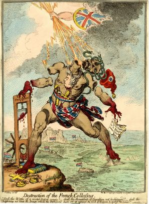 James Gillray, Destruction of the French Colossus, 1798. Hand-coloured satirical print